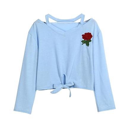 Camisetas Corto 2017 2018 para Mujer, LILICAT Otoño Verano Elegante Impresión de Rose Blusa Tops