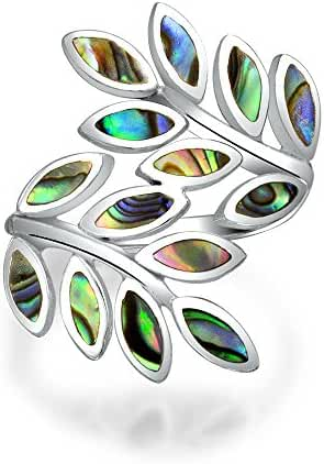 Bling Jewelry Abalone Shell Nature Statement Laurel Leaf Ring 925 Silver
