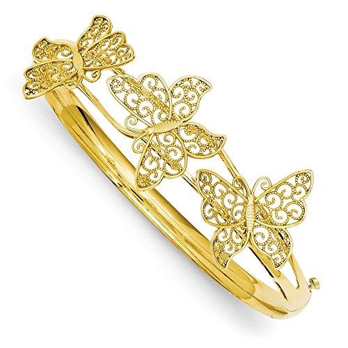 (Diamond2Deal 14k Yellow Gold Butterfly Bangle Bracelet)