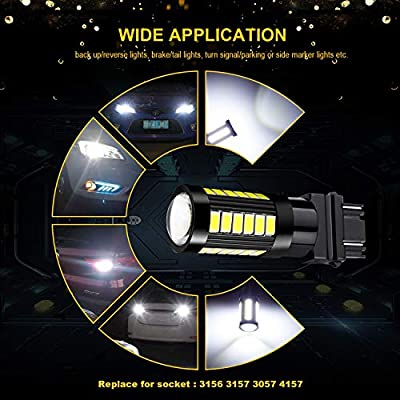 JDM ASTAR Bright White Output 5730 33-SMD 3056 3156 3057 3157 4057 4157 High Power Super Bright 360 Beam Led Light Bulbs With Projector For Backup Reverse Light: Automotive