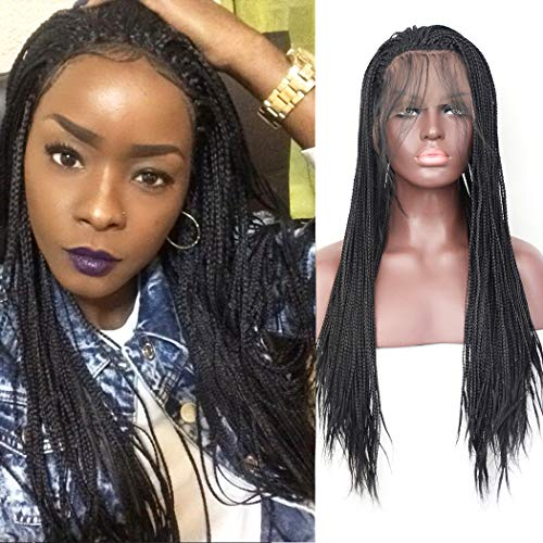 BLUPLE Micro Braided Lace Front Wig #1B Natural Black Half Hand Tied Synthetic Hair Heat Resistant Hair Braided Wigs Free Part with Baby Hair for Black Women (24 inches, Micro Braided,#1B)