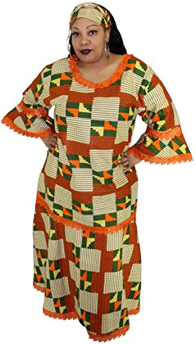 African Planet Women's Dress Queen Wedding Inspired Maxi with Gele headwrap (Off-white and Orange) by African Planet