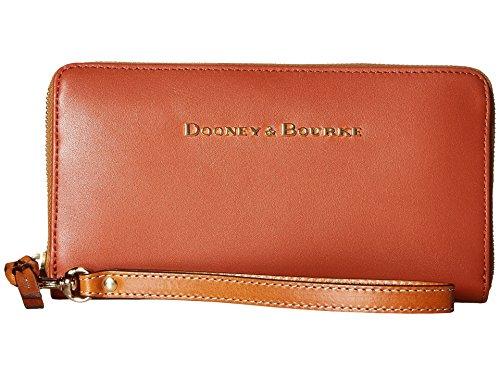 Dooney Bourke City Large Zip Around Wristlet Cognac Wristlet Handbags by Dooney & Bourke