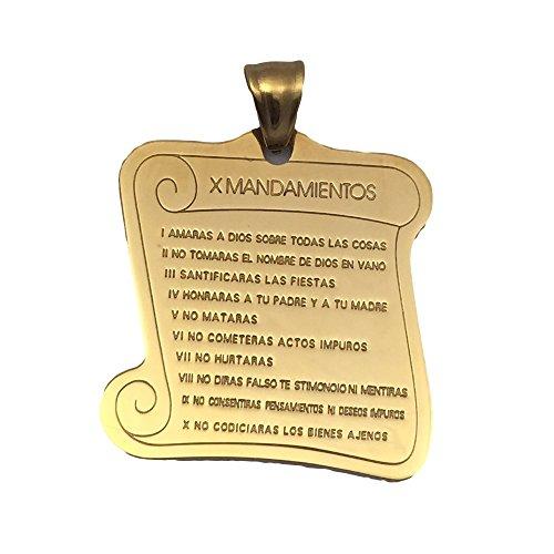 X Mandamientos in Spanish Pendant 40mm - Medalla con los 10 Mandamientos en Español - Gold Plated