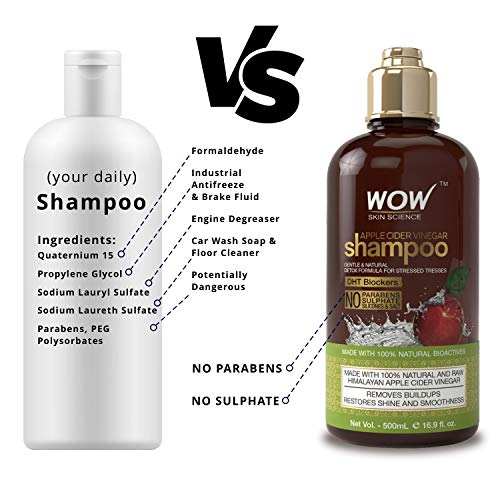 Best leave in conditioner for natural hair. WOW Apple Cider Vinegar Shampoo & Hair Conditioner Set - Increase Gloss, Hydration, Shine - Reduce Dandruff & Frizz - No Parabens or Sulfates - For All Hair Types, Adults & Children - 500 mL #naturalhaircare