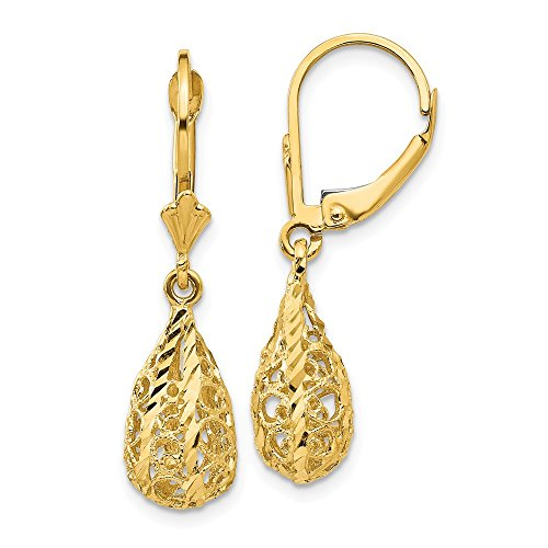 14k Yellow Gold Filigree Drop Dangle Chandelier Leverback Earrings Lever Back Fine Jewelry Gifts For Women For Her