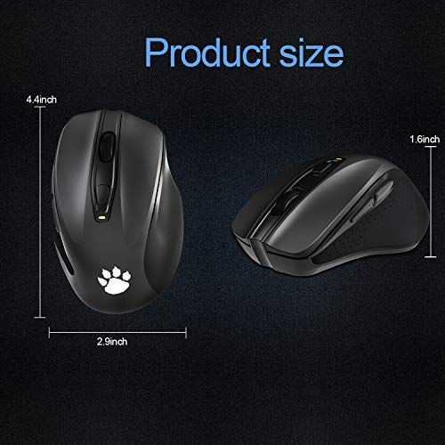 WISE TIGER 2.4G Wireless Mouse Portable Mobile Optical Mouse with Nano USB Receiver 5 Adjustable DPI Levels 6 Buttons for Notebook PC Laptop Computer Macbook - Black
