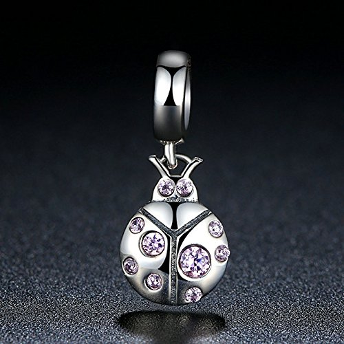 Soulove Beetle Pink CZ Dangle 925 Sterling Silver Bead for Snake Chain Charm Bracelet