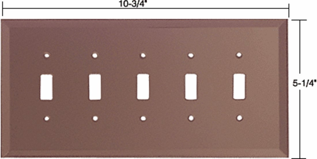 CRL Bronze 5-Gang Toggle Glass Mirror Plate by CR Laurence