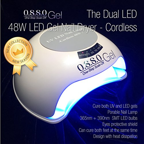 Portable Rechargeable Cordless 48W 365+395nm Nail lamp for LED/UV Gel by O.S.S.O Gel