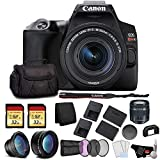 Canon EOS Rebel SL3 DSLR Camera with 18-55mm Lens (Black) Bundle with 2x32GB Memory Card + Battery for CanonLPE17 + LCD Screen Protectors + Wide Angle Lens + 2X Telephoto Lens and More