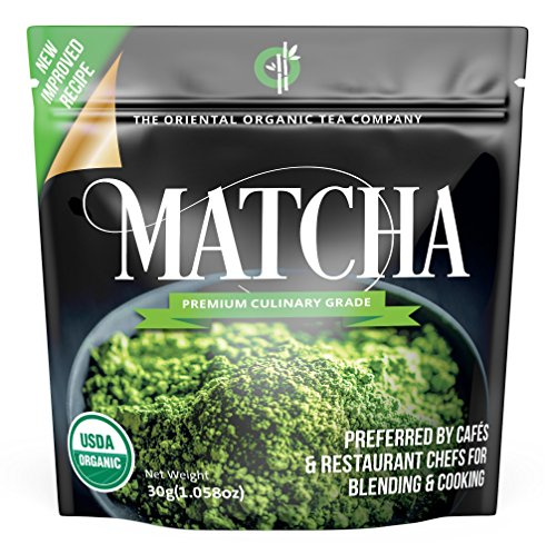 The Oriental Organic Matcha Green Tea Powder Organic-(Premium Culinary Grade) - USDA & Vegan Certified-30g (1.06 oz) Perfect for Baking, Smoothies, Latte, Iced Tea, Ice Cream. Gluten & Sugar Free