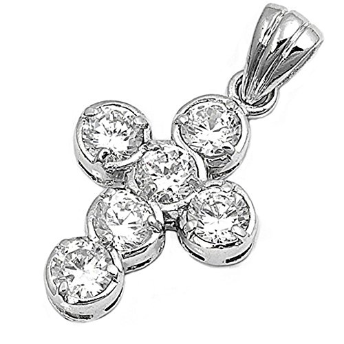 - Cross Pendant Clear Simulated CZ .925 Sterling Silver Charm - Silver Jewelry Accessories Key Chain Bracelet Necklace Pendants