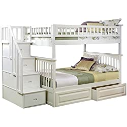 Columbia Staircase Bunk Bed with 2 Raised Panel Bed Drawers, Full Over Full, White