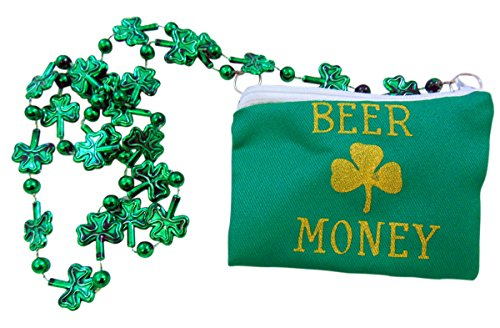 Beer Money Pouch Shamrock Green Bead St Patrick's Day Party Necklace