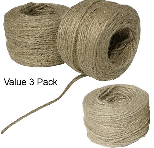 All Purpose Jute Twine 3 Pack Recycle Home & Garden Extra Strong Multi Purpose Craft String Environmentally Friendly All Natural Plant Fibers