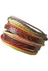 Adjustable leather bracelet buckle bracelet made of hemp ropes brown leather cuff bracelet SL2326