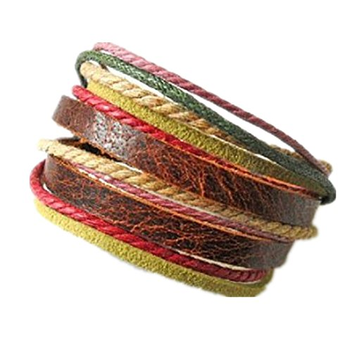 Adjustable leather bracelet buckle bracelet made of hemp ropes brown leather cuff bracelet SL2326