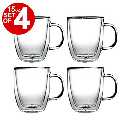 Bodum Bistro Double-Walled Transparent 15 Ounce Jumbo Coffee Mug, Set of 4 ()