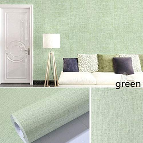 Green Linen Contact Paper Waterproof PVC Self-Adhesive Removable Peel and Stick DIY Wallpaper Faux Imitation cloth Vinyl Film Wall Stickers Solid color Decorate Furniture Cabients Kitchen Bedroom Livi