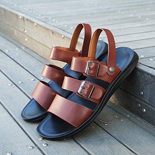ZHNAGJIA Männer Sandalen, Neue Sommer Strand Hausschuhe, Casual Schuhe der Koreanischen Männern, 44, Ein 551 Braun