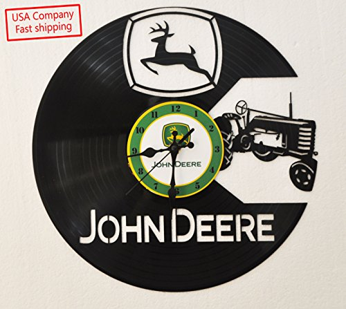John Deere Tractor inspired vinyl record clock