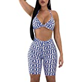 PlushZone Women's Sexy Summer 2 Piece Jumpsuits Backless Strappy Bra Crop Tops Short Pants Casual Outfit