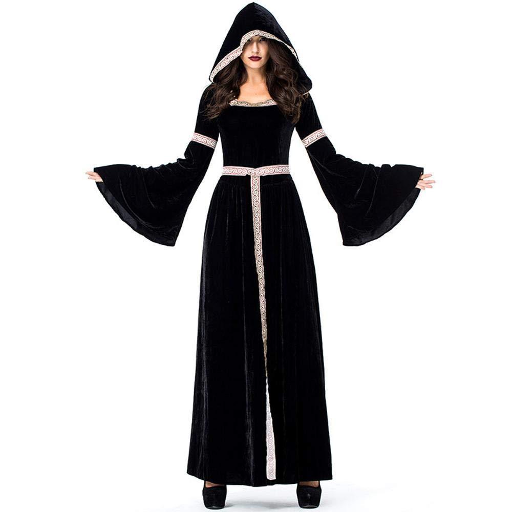 Shisky Cosplay kostüm Damen, Halloween Kostüm Retro Gericht Kostüm Schwarze Hexe Witch Outfit