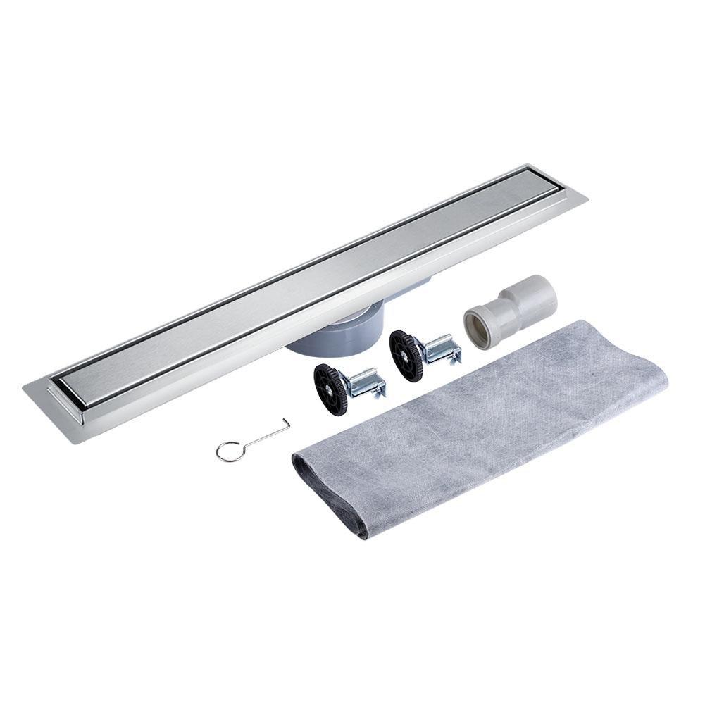 Zerone Drain de plancher, 360 degré rotatif inox linéaire tuile étage douche salle de bains cuisine plancher canal Drain tuile Insert cuve égouttoir (90 CM)