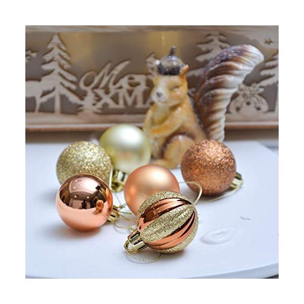 Valery Madelyn Palle di Natale 40 Pezzi 4 cm Palline di Natale, Legno Essenziale Rame e Oro, Base Infrangibile Ornamenti Palla di Natale Decorazione per Albero di Natale 6 spesavip