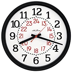 Seth Thomas Black Plastic Case White Dial with 24-Hour Display Round Quartz Wall Clock