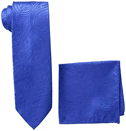 Pierre Cardin Men's Solid Paisley Tie and Pocket Square, royal, One Size