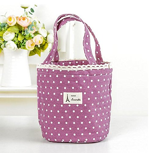 DinRoll Lovely Simple Insulated Bag Lunch Bag Tote Picnic Pouch Purple