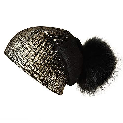 Winter Beanie Hats for Women Real Fur Pom Pom Slouchy Beanies Bobble Ski Cap Black