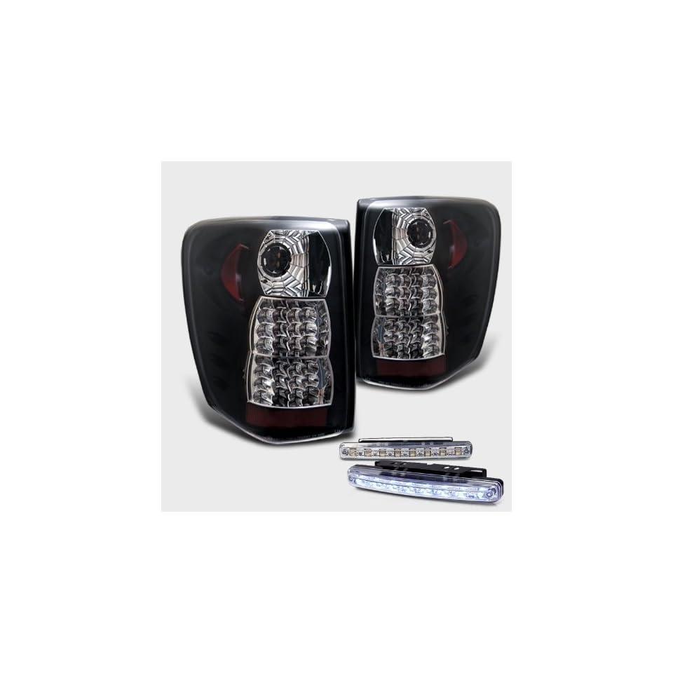 Eautolight Jeep Grand Cherokee Black Full LED Tail Brake Light Lamps with DRL 8 LED Fog Bumper Light Pair New Set