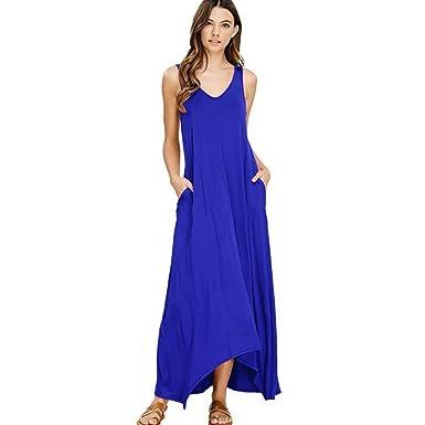 659983f83b ZOLLOR Women's Casual V Neck Sleeveless Bodycon Tank Summer Dress,Plain  Loose Maxi Dress with