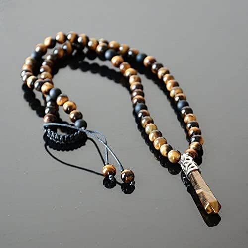 tiger eye brown macrame necklace men/'s necklace Brown necklace with tiger eye macrame necklace with stone hippie necklace tiger eye chain pendant