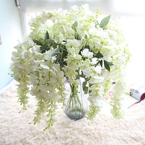 Artificial Silk Wisteria Fake Flowers , Cywulin 1 Bunch Hanging Flower Plant Vine Decor for Wedding Bouquet House Office Garden Inddor Outdoor (White)