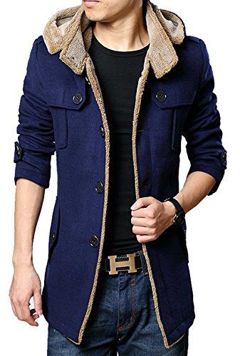 S&S Men's Slim Buckle Collar Asymmetric Chest gallery Faux Fur Coat With Hood - Asymmetric Buckle