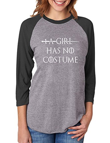 Tris Halloween Costume (A Girl Has No Costume - Funny Halloween 3/4 Women Sleeve Baseball Jersey Shirt XX-Large black/gray)