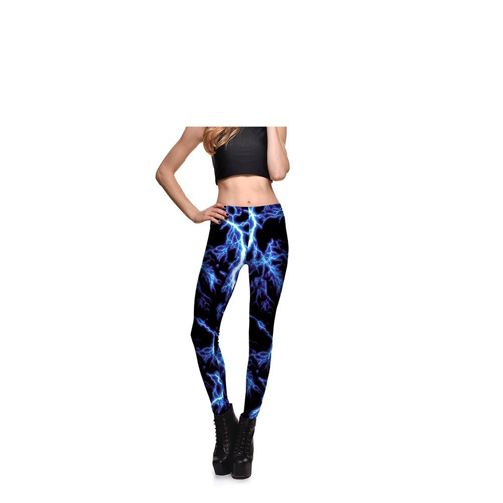 62ede0fafcea5 Amazon.com: Blue Lightning Print Yoga Leggings lim Sports Fitness Legging  Butt Lift High Waist Fitness Pants: Clothing