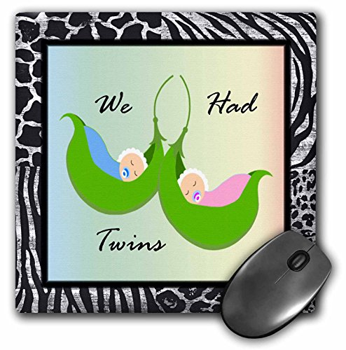 3dRose Florene - Special Events - Print of We Had Twins in Pea Pod On Zebra Background - Mousepad (mp_212871_1)