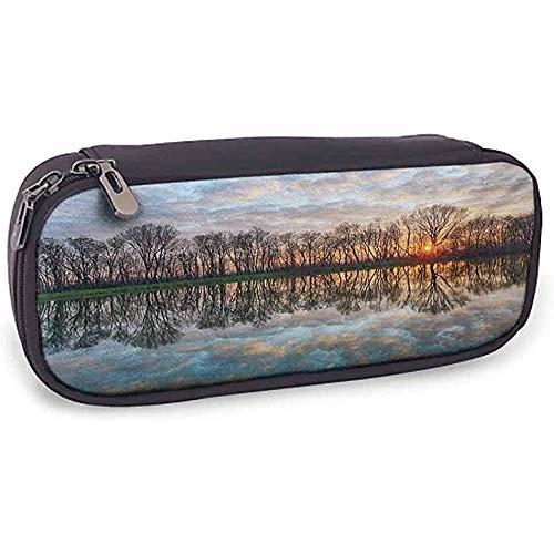 Estuche de lapices Paisaje magico Lago Puesta de sol con el espejo Cristalino Agua y horizonte sobre bosque B