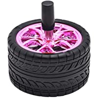 Butt Bat Rubber Car Tires Ashtray Creative Push Down Ash Tray Rubber Metal Car Ashtray with Lid (Pink)