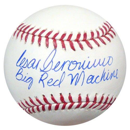 CESAR GERONIMO AUTOGRAPHED OFFICIAL MLB BASEBALL CINCINNATI REDS'BIG RED MACHINE' PSA/DNA STOCK #28134