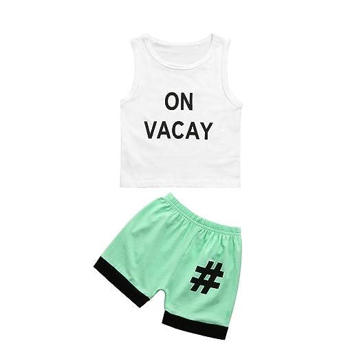 98e77f285601 Winsummer 2pcs Toddler Kids Baby Boy Cool Sleeveless T-Shirt Vest+Pants  Clothes Summer