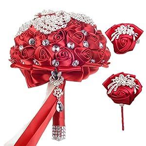 VOCHENG Handcraft Crystal Satin Wedding Flower 3 PC Set Bridal Bouquets Birdemaid Wrist Corsage Boutonniere Brooch for Wedding Decor 17