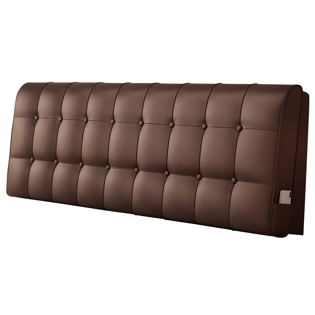 Lil Solid Color Waistboard Headboard Cushion, No Bed Backrest Soft Pack Double Bed Pillow Tatami Simple (Color : Brown)
