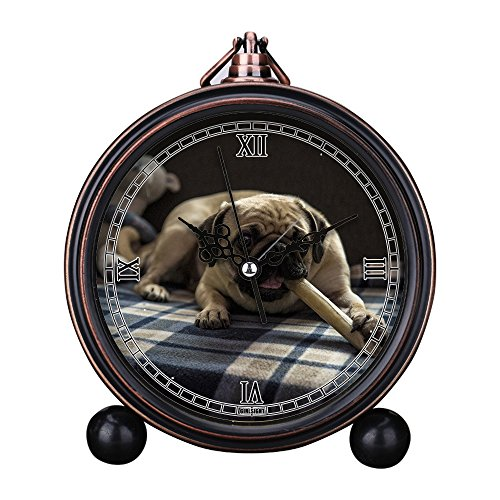 Vintage Retro Living Room Decorative Non-ticking, HD Glass Lens, Quartz, Analog Large Numerals Bedside Table Desk Alarm Clock Cute Cat Dog Series -315. Lying Stella Treats Pug ()
