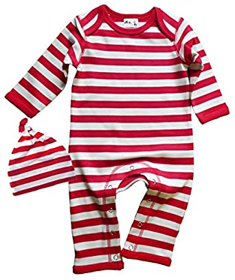 DFUK, Baby Striped Romper Suit with One Knot Hat